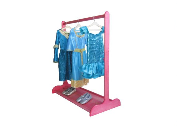 Dress-up center with double sided shoe stand