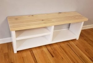 White Bottom Entryway Shoe\Boot Rack and Bench by FallingTreesBySki
