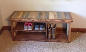 Rustic Boots Shoes bench