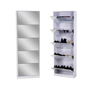 Organizelife white mirrored 5 shelf shoe