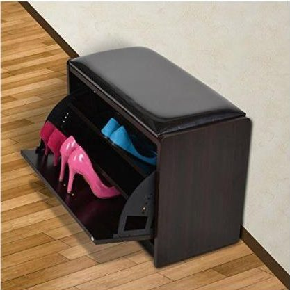 Compact wodden shoe bench