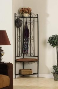 King's Brand Black Metal Corner Entryway Hallway Rack Bench & 6 Hooks