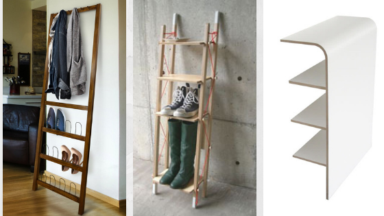Wall-leaning shoe rack
