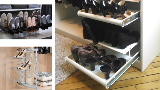 Pull-out shoe rack for closet