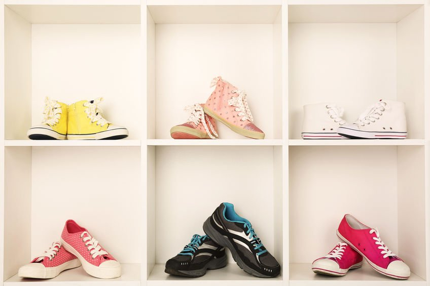 sneaker display on shelves