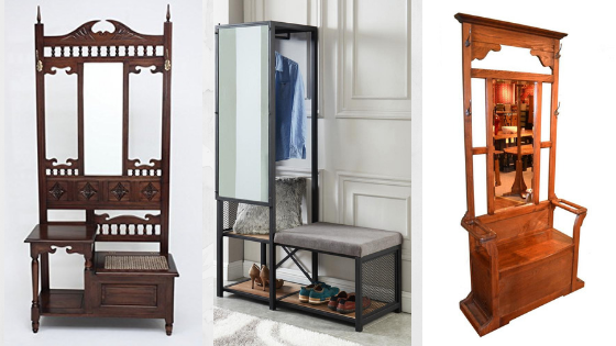 Hall tree with mirror and storage space: from antique to modern-style