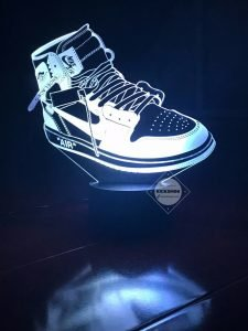 Laser Cut AJ1 Off White The Ten Retros 3D Illusion Sneaker LED