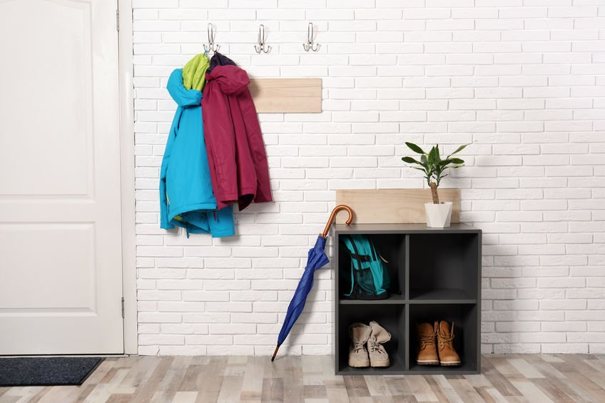 Shoe rack with umbrella holder