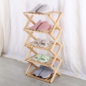 mademax 5 tiers shoe rack wood foldable