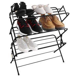zenree foldable metal shoe rack