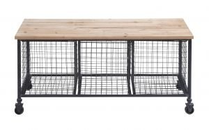 Decmode Industrial 19 X 39 Inch Rectangular Wood and Iron Rolling Storage Bench