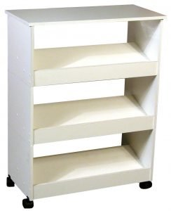 mobile shoe cuddy with top and 3 slated shelves