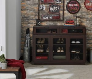 Geno traditional walnut shoe cabinet