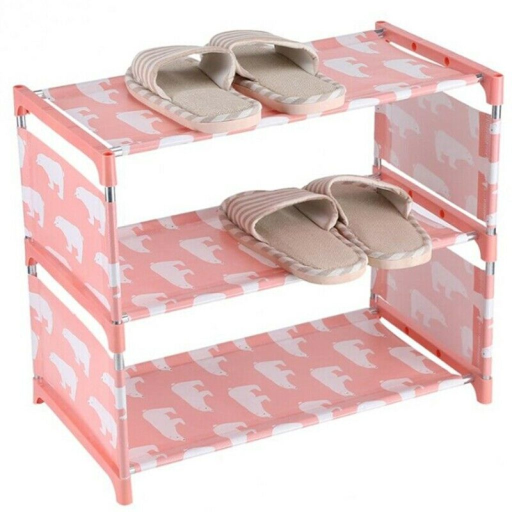 pink elephant three tier shoe rack