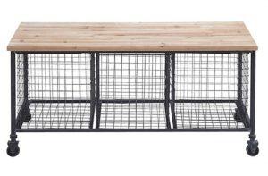 Basilio Wood Storage Bench