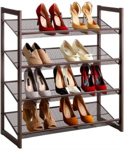 LANGRIA 4-Tier Metal Shoe Rack Utility Shoe Tower