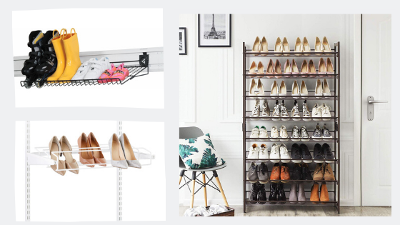 Shoe rack with angled shelves: looks neat and organized!