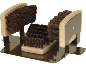 Mounted shoe scraper and brush